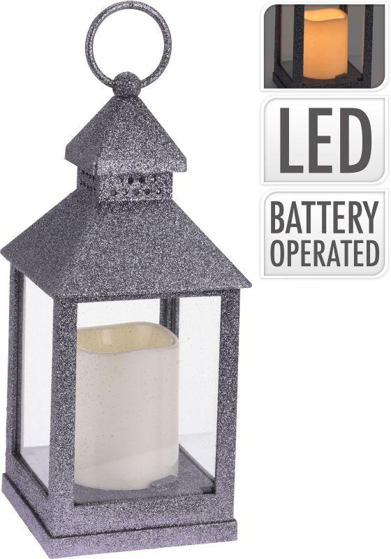 lucerna d10x23cm, svíčka LED, tm.stříbr., sklo+kov