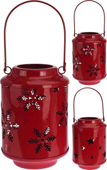 svícen-lucerna 15cm, červená, kovová