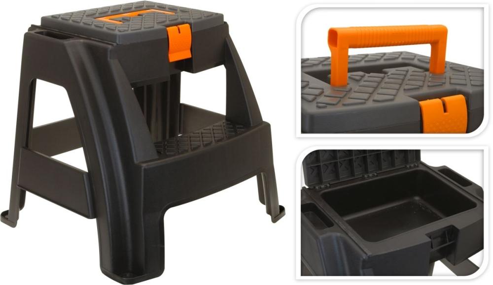 schůdky+box šedý/oranž v44cm