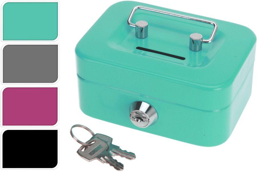 pokladna 115x85x60mm, s klíčem, mix barev, KOV