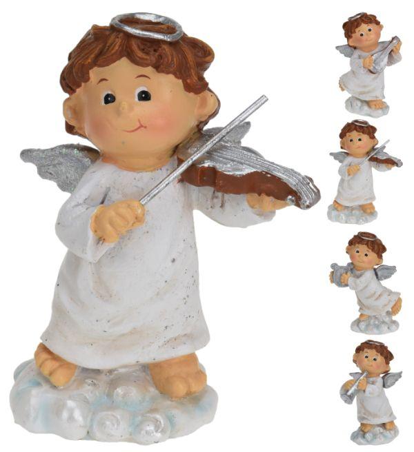anděl s hudeb.nástrojem, 4druhy, polystone