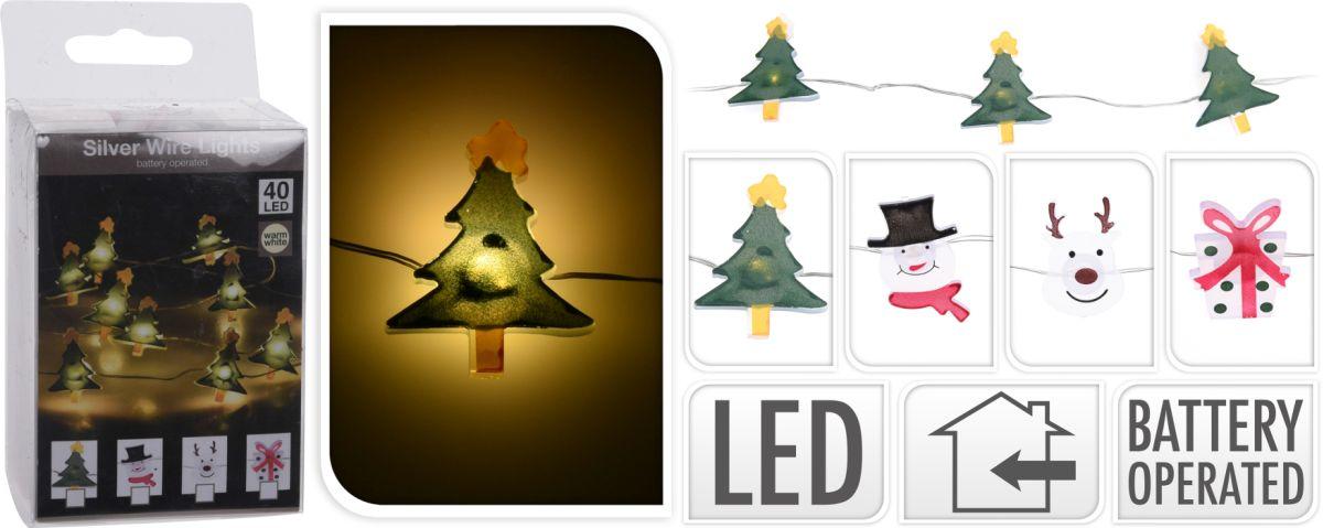 řetěz 2m, 40 LED, mix dekorů, na baterie