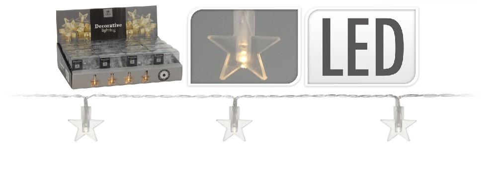 řetěz  1m LED, hvězdy ván.na stůl, na baterie