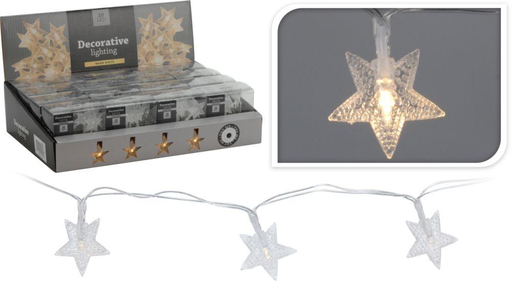řetěz 100cm LED,hvězdy,bílé, vánoční na stůl, na baterie