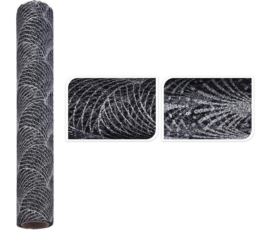 látka DF ORGANZA 28x300cm, černá, 2dekory