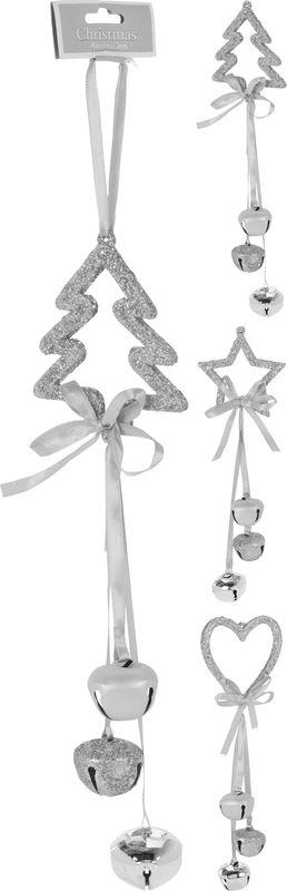 dekorace strom,hvězda,srdce s rolničkami, stříbrná