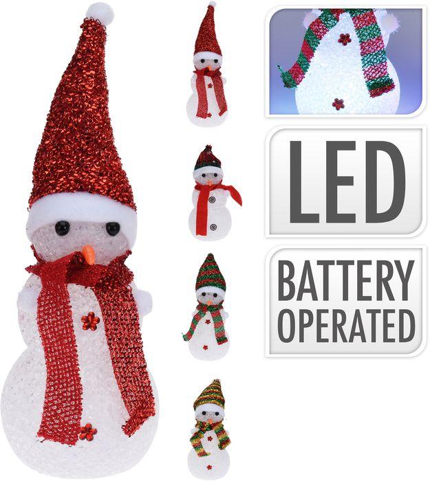dekorace SNĚHULÁK 20cm, 4druhy, LED