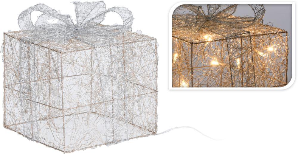 dekorace DÁREK 15x15cm,v.17,5cm, ZL.RŮŽE, LED osvětlení