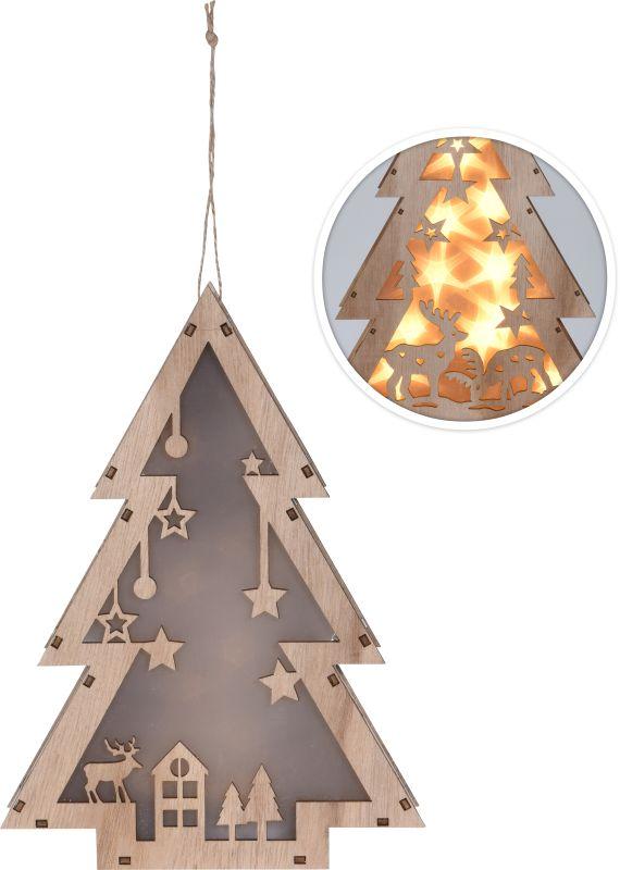 dekorace STROMEČEK 25cm, dřevo, 8LED osvět, závěs