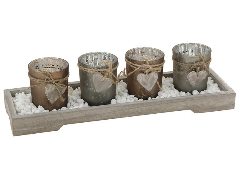 svícen dřevo,4ks sklo,kameny, vánoční