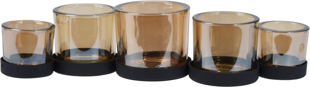 svícen 5díl., 36cm, sklo+kov