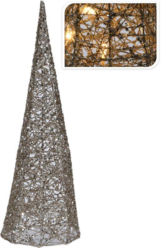 dekorace 13x13cm,v.40cm PYRAMIDA vánoční, bavlna