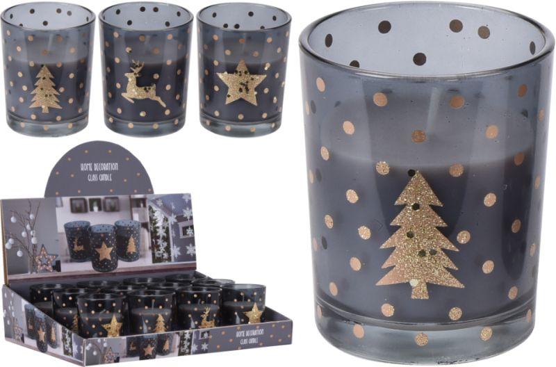 svíčka d5,5x6,5cm vánoční ve skle