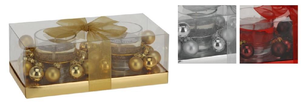 svíčka 2ks 5,5x5cm gelová, ván.ve skle