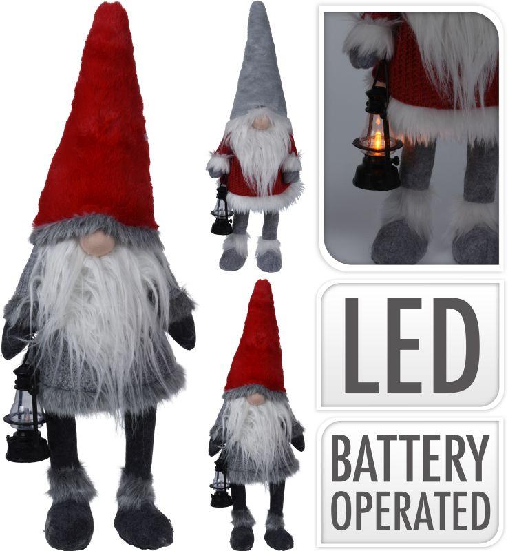 dekorace 51cm SKŘÍTEK, LED lucerna, 2druhy, pružné nohy