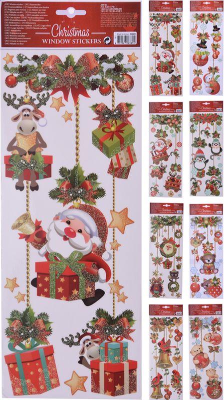 dekorace vánoční 37x15cm, 8druhů, GLITTER na okna