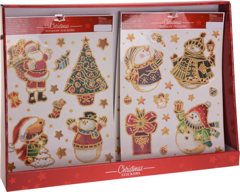 dekorace vánoční 42x30cm na okna,barevná