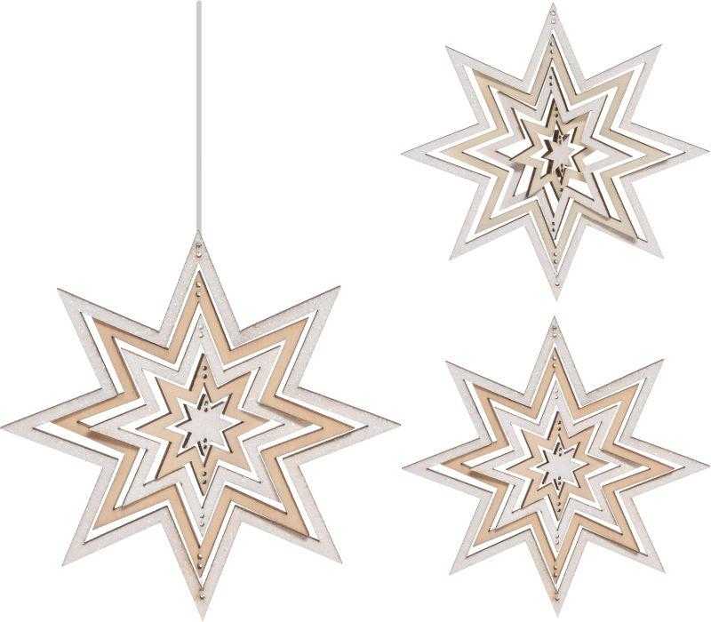 dekorace ván.12cm Hvězda 3D, 2dekory, dřevo