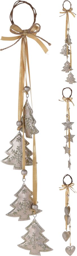 dekorace ván.35cm srdce,stromeček,hvězdy, závěs,kov