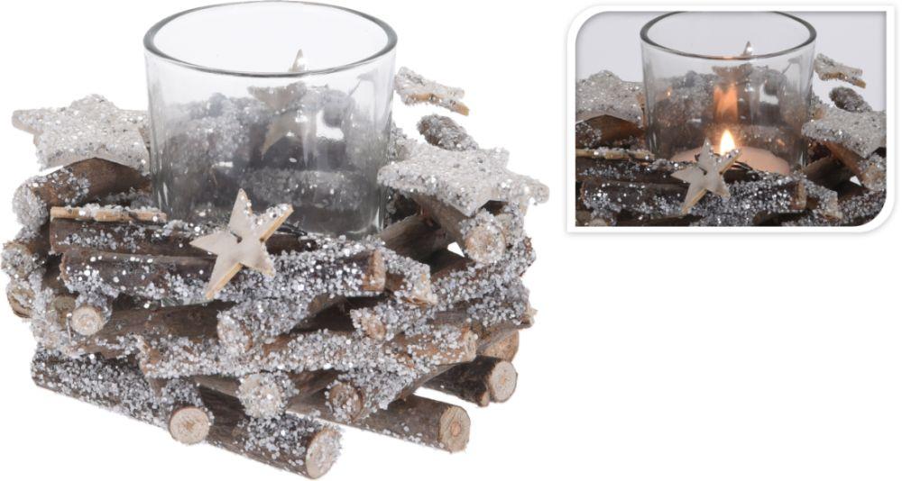 svícen dřevo, sklo na čaj.svíčku d11x11cm