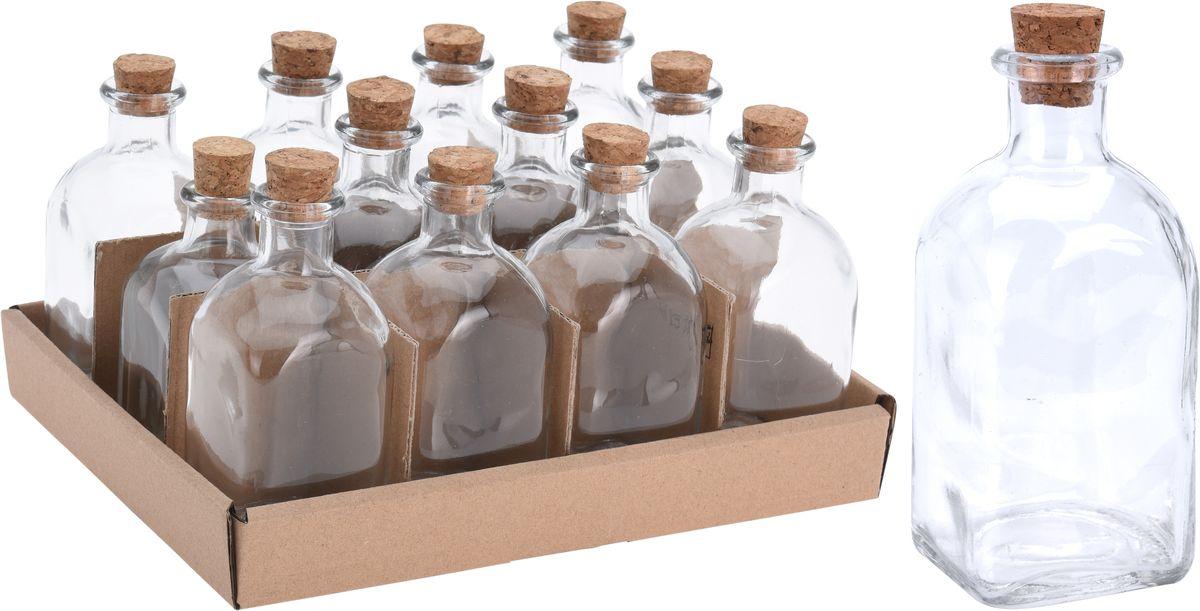 láhev 0,10l hran.+kork.zátka, ocet/olej, sklo