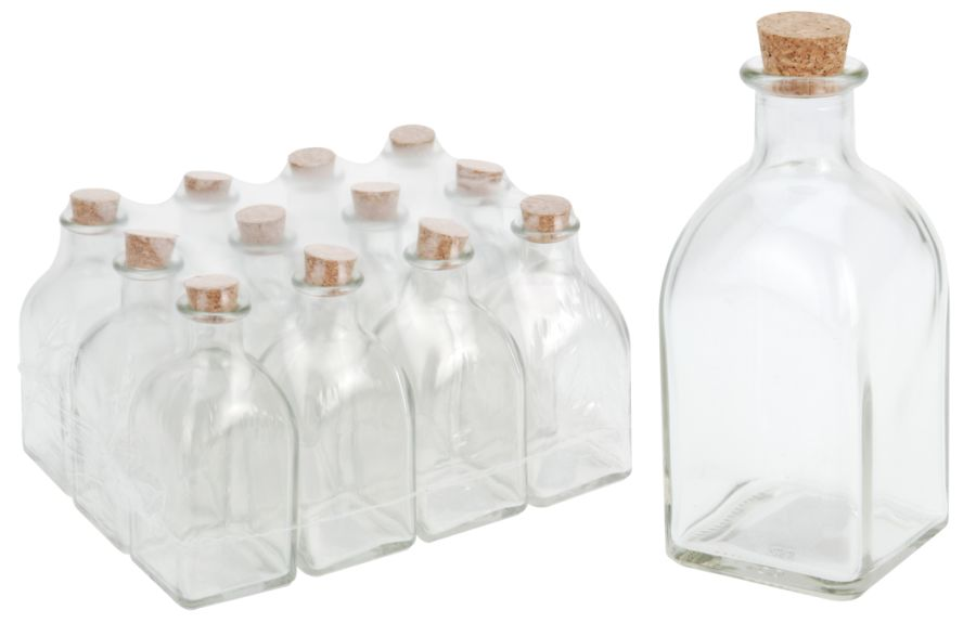 láhev 0,25l hran.+kork.zátka,olej/ocet, sklo