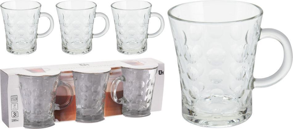 hrnek 3ks 280ml na kávu/čaj, sklo
