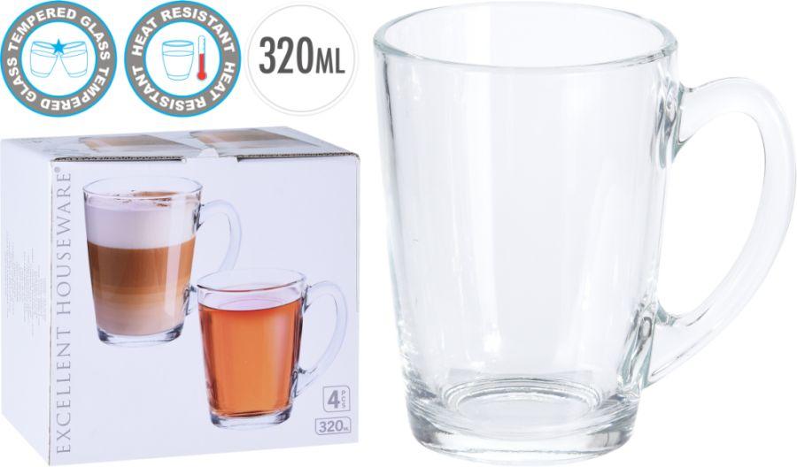 hrnek 4ks 320ml na kávu/čaj, sklo