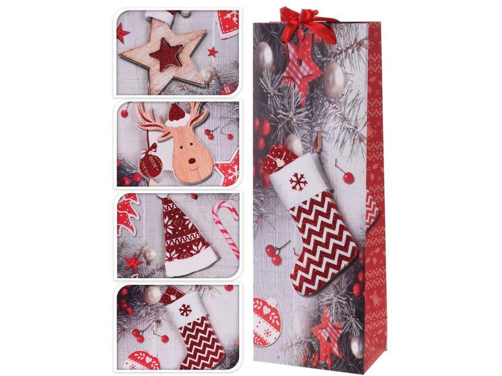 taška na láhev, VÍNO, vánoční 19, 36x12,5x5cm, papír