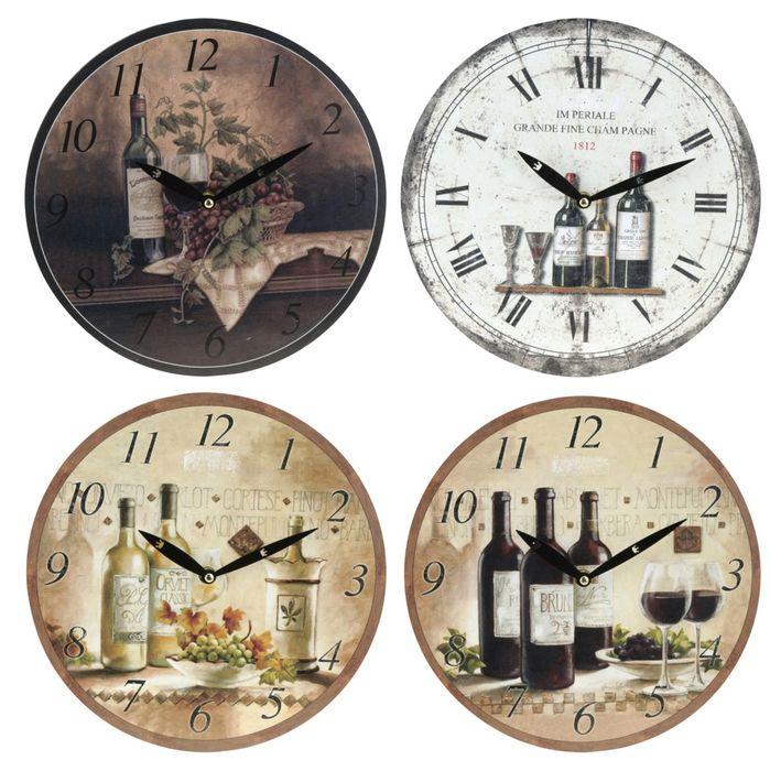 hodiny d28cm, LÁHVE  4dekory, kulaté nástěnné
