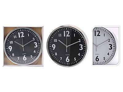 hodiny d20cm chrom, černo/bílé, kulaté nástěnné