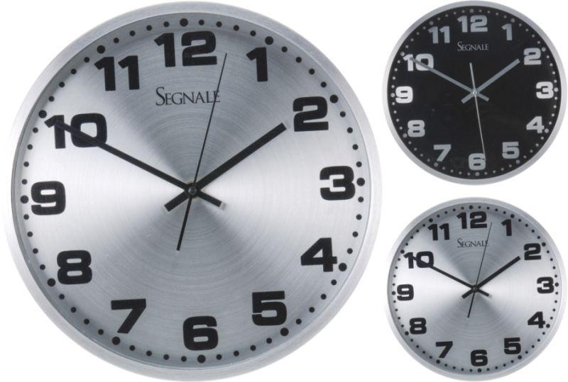 hodiny d30cm hliník, 2druhy, nástěnné