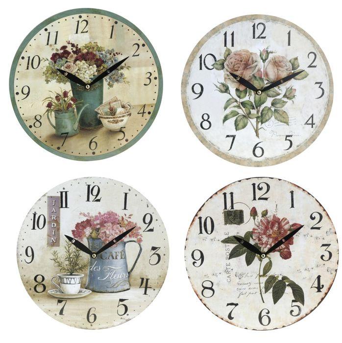 hodiny d28cm KVĚTY, mix dekorů, nástěnné