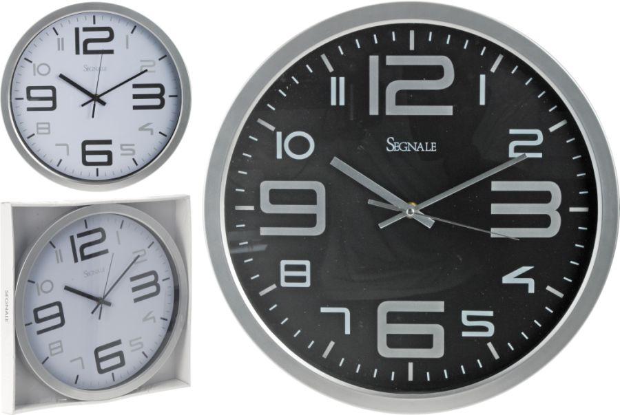 hodiny d35cm, černé/bílé, 2typy, kulaté nástěnné