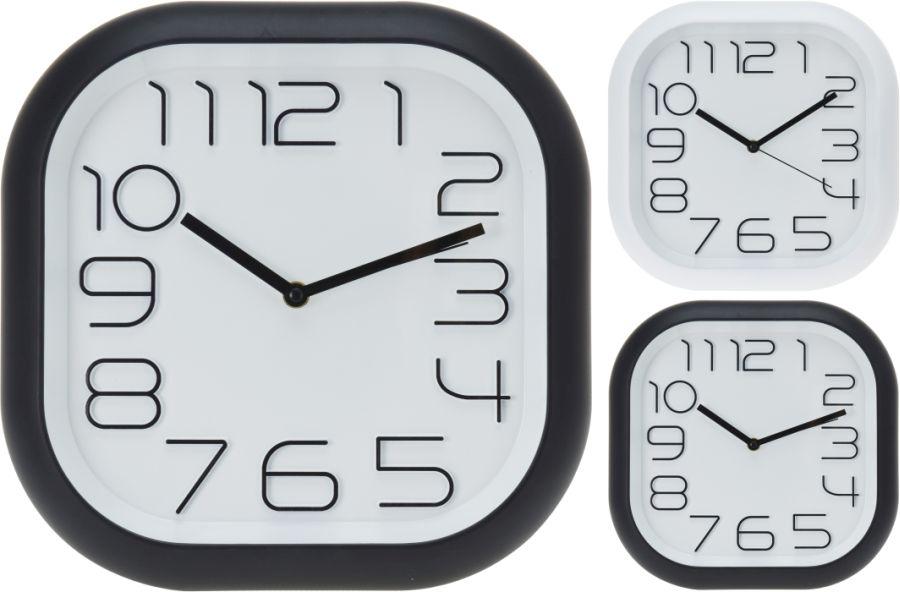 hodiny 30x30cm, černé/bílé, 2typy, čtverc.oblé