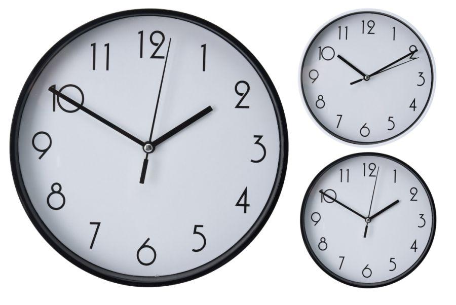 hodiny d20cm, černé/bílé, 2typy, kulaté nástěnné