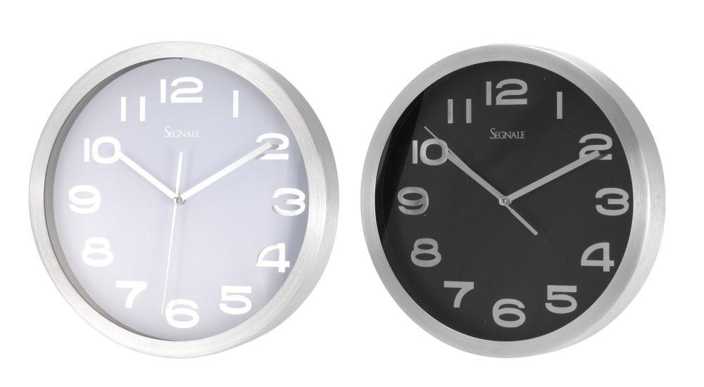 hodiny d25cm, černé/bílé, 2typy, Al kov,kulaté nástěnné