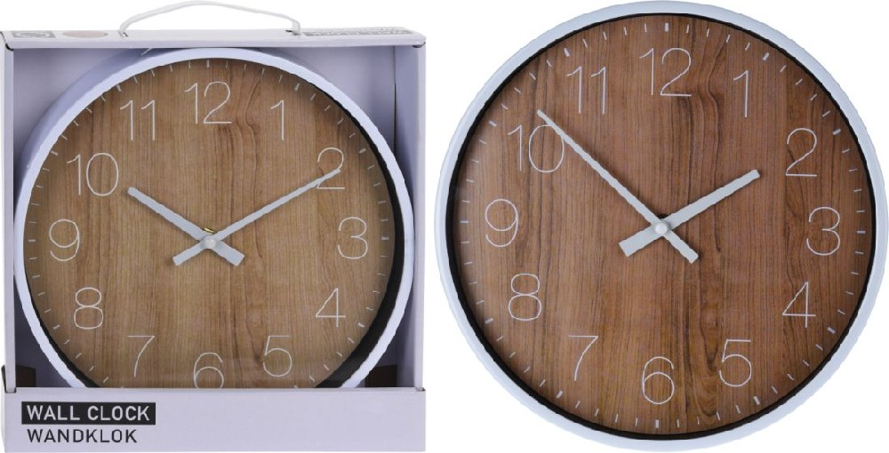 hodiny d25cm, im.dřevo, kulaté nástěnné