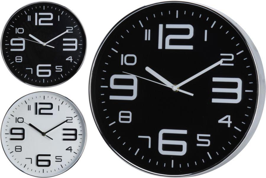 hodiny d30,5cm, černé/bílé, 2typy, kulaté nástěnné