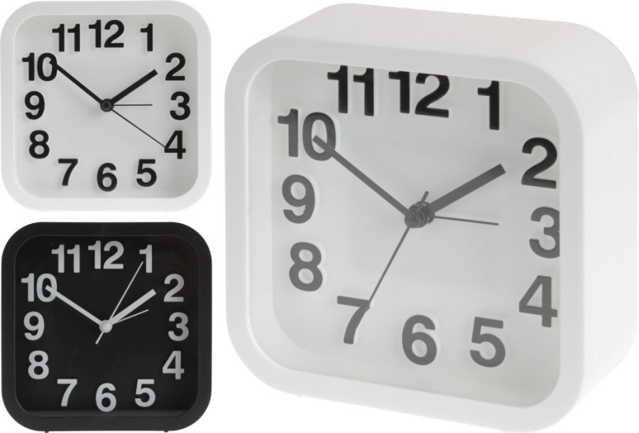 hodiny 13x13cm,i BUDÍK, černé/bílé, 2typy,čtvercové