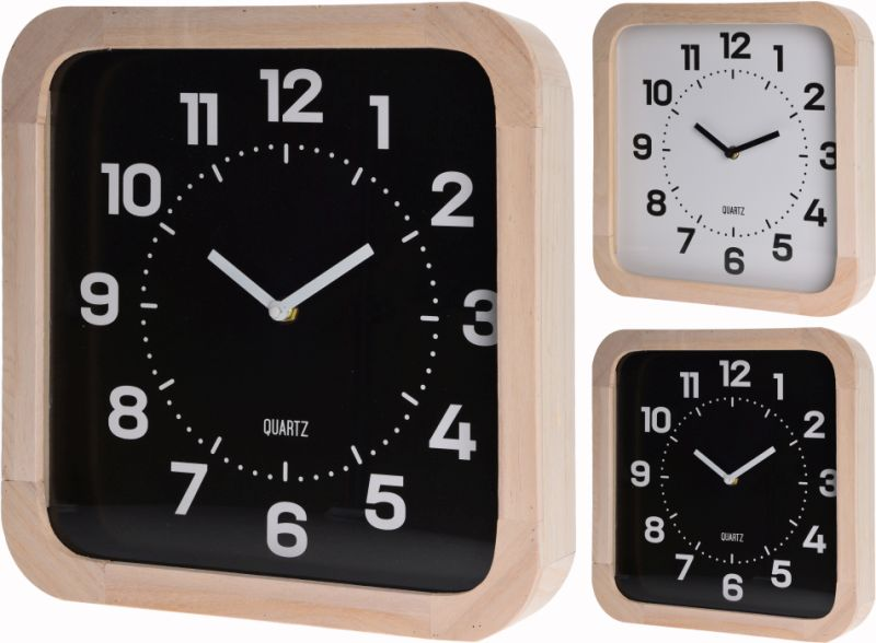 hodiny 30x30cm, černé/bílé, dřevo