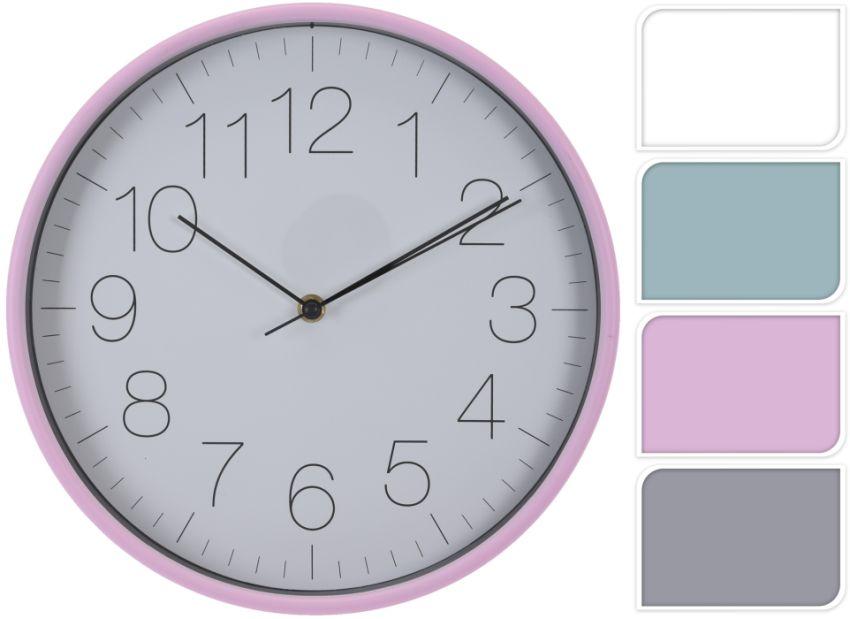 hodiny d30cm, 4barvy, plast