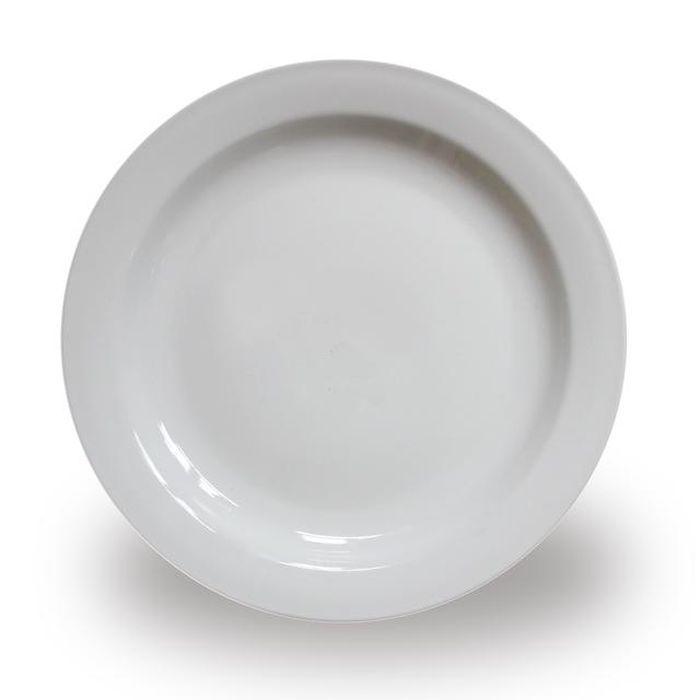 talíř d26cm mělký, klasik v,2,5cm, bílý porcelán