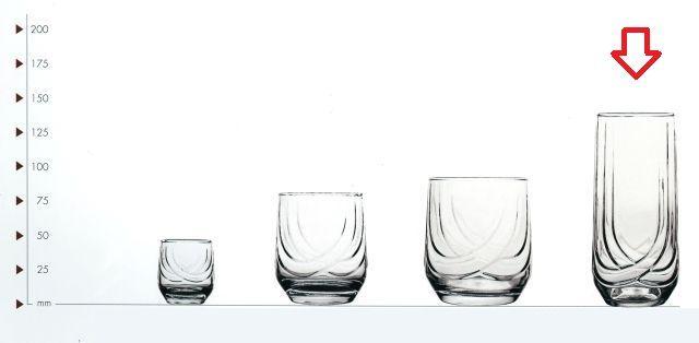 sklen. 330ml, 6ks, ELIT v.14,1cm - long drink