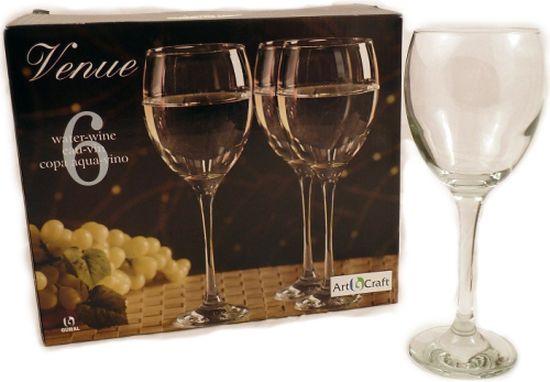sklen. 340ml, 6ks, VENUE v.18cm - víno/voda