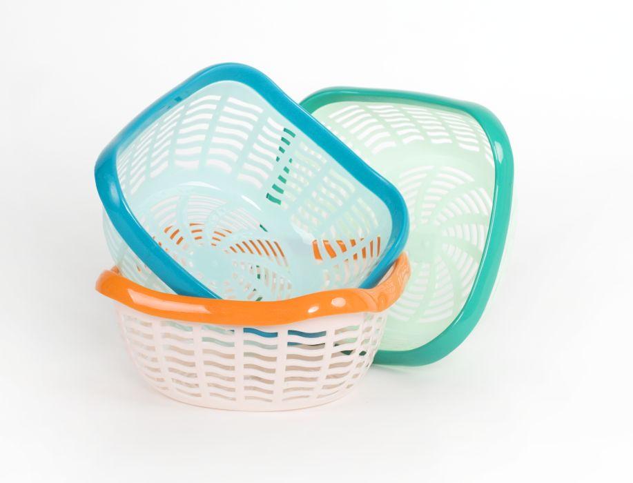 košík 26x26x11,8cm, 2barevný plast, mix barev