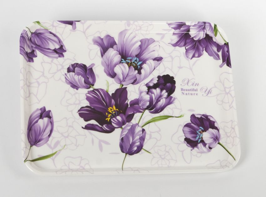podnos dekorační 30x21cm květy fialové melamin