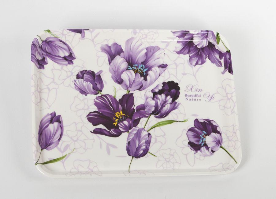 podnos 39x29cm dekorační, květy fial., melamin