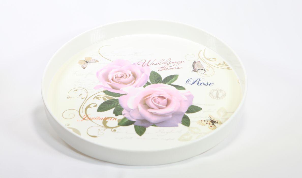 podnos d34cm dekorační, KVĚTY, melamin