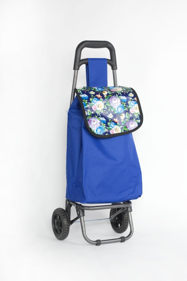 taška 20l s kolečky, modrá s barev.květy (18kg), kov.rám